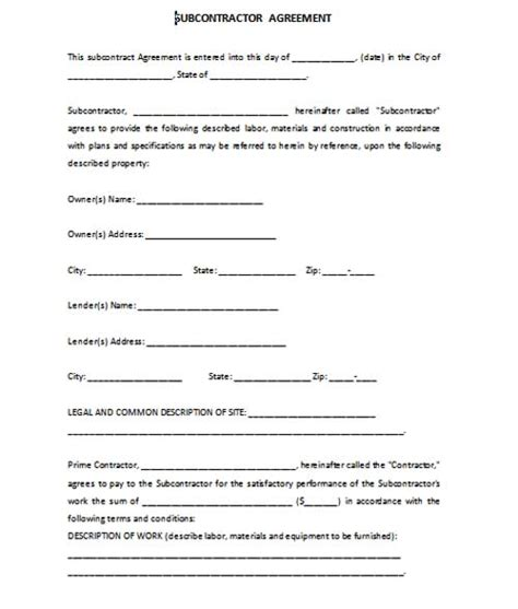 contractor subcontractor agreement template subcontractor agreement template