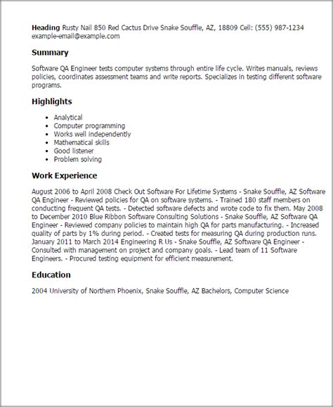 sle resume for software qa engineer professional software qa engineer templates to showcase