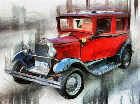 vintage cars drawings vintage car drawing drawing by daliana pacuraru