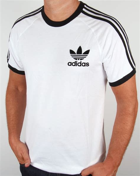 Adidas Vintage T Shirt by Adidas Originals Retro 3 Stripes T Shirt White California