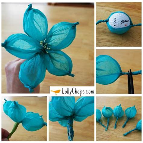 How To Make Tissue Paper Flower Balls - tissue paper flowers using a golf diy cozy home