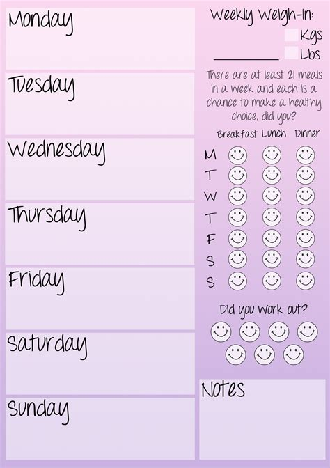 printable workout journal weekly fitness journal printable low fat diet