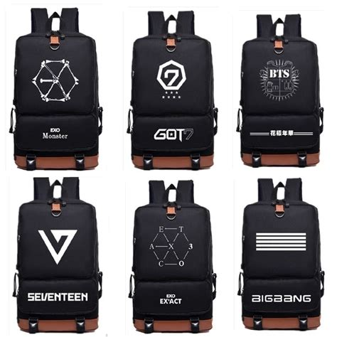 Backpack Logo Exo kpop bts bigbang exo got7 seventeen bag travel