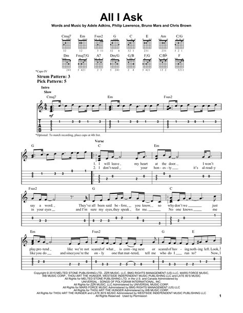 all i ask adele all i ask sheet music by adele easy guitar tab 163619