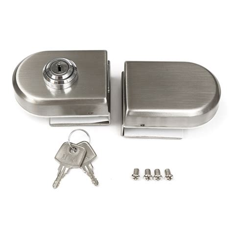 swing door lock stainless steel 12mm glass door lock double swing hinged
