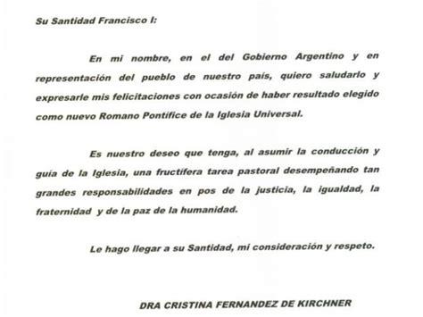 la carta para papa 1481278576 la presidenta argentina cristina fern 225 ndez felicit 243 al nuevo papa soychile cl