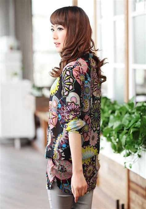 Kemeja Wanita Murah Torre Orange kemeja wanita lengan panjang motif import model terbaru
