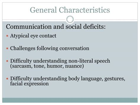 general biography characteristics ppt working with students with autism spectrum disorders