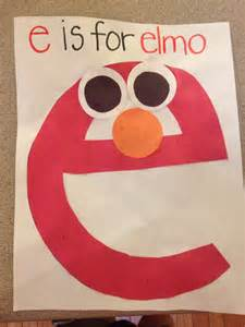 e is for elmo lowercase letter e craft for my little