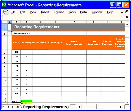 report requirements template functional requirements specification ms word excel