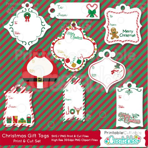 christmas gift tags print cut svg files