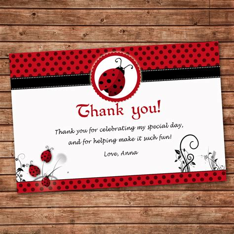 Thank You Note For Birthday Gift Card Personalized Any Wording Red Black Thank You Card Little