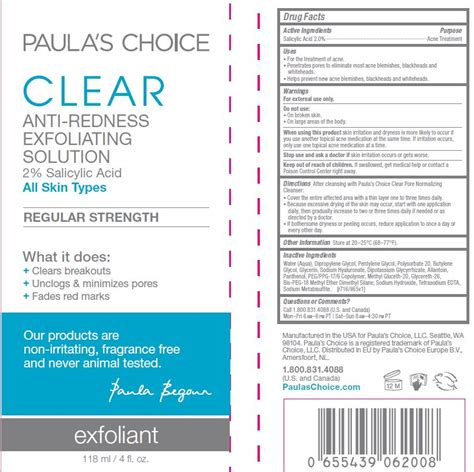 Paula S Choice Clear Strength Anti Redness Exfoliant Size dailymed clear exfoliating solution paulas choice salicylic acid