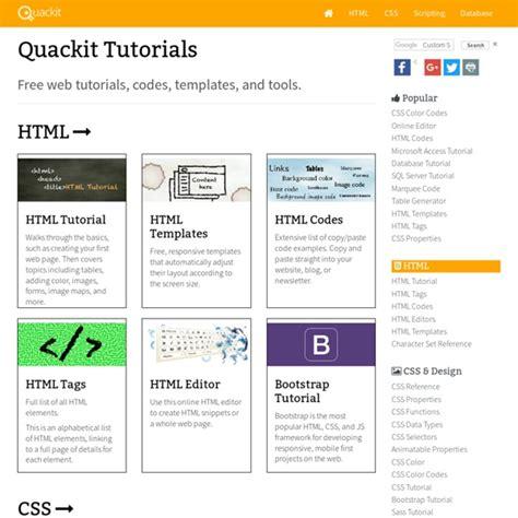 html tutorial quackit free webmaster tutorials quackit com pearltrees