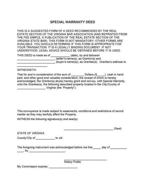 great special warranty deed template images gallery