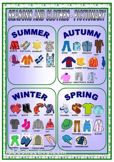 Clothes For Different Seasons Worksheet | clothes and seasons pictionary worksheet free esl
