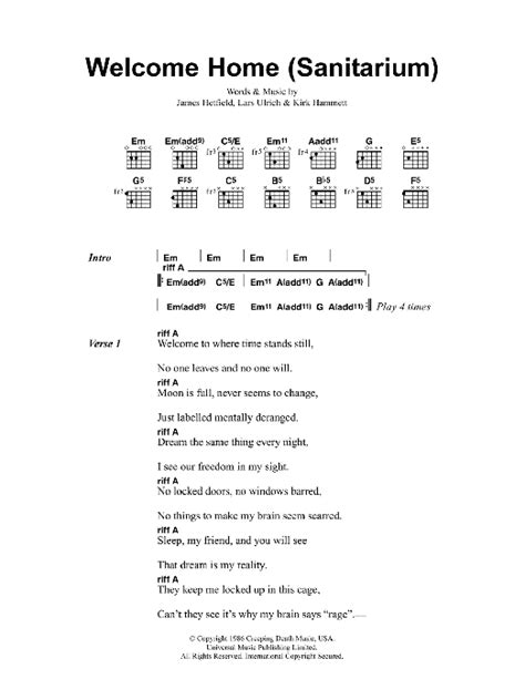 welcome home sanitarium by metallica guitar chords