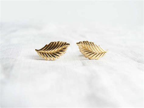 Leaf Stud Earrings small gold leaf earrings leaf stud earrings fashion