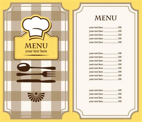 restaurant menu card templates free restaurant menu template free eps file set of cafe
