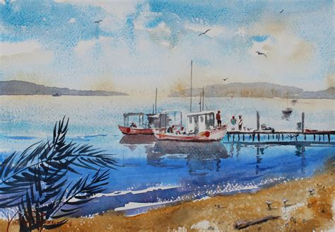 boat paint dry docked boats in sunny waters watercolor painting