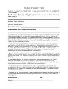 Release From Liability Form Template by Free Liability Release Forms Pdf Template Form