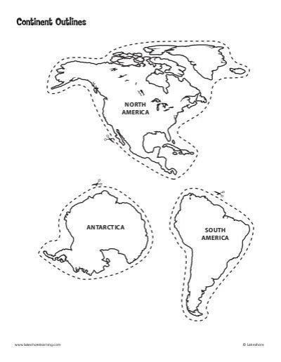 continent outlines template lakeshore learning materials
