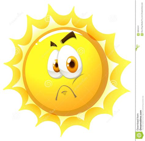 sunlight l for sad sun with sad face stock vector image 58834241