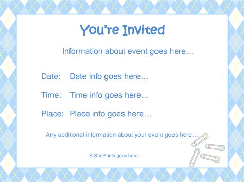 baby shower invitation templates for free baby shower invitations for boy template best template