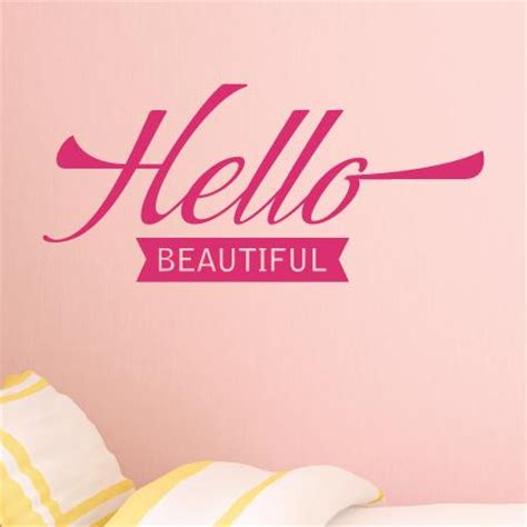 aliexpress com buy hello beautiful quotes wall decals vinyl stickers for bedroom or bathroom hello beautiful banner wall quotes decal wallquotes com