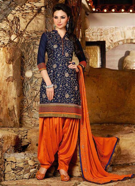 Shalwar Kamaaz Baju India 67 buy navy blue cotton patiala suit at best price buy salwar kameez at cbazaar