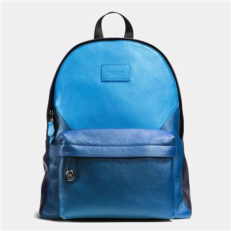 Patchwork Backpack - coach cus backpack in patchwork pebble leather in blue