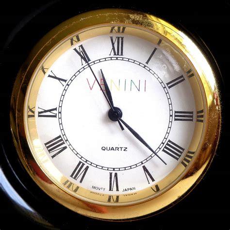 Decorative Desk Clock by Signed Venini 99 Murano Jet Black Italian Glass