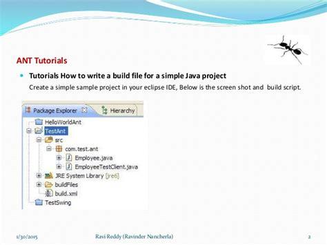 tutorial ant build xml tutorial to develop build files using ant