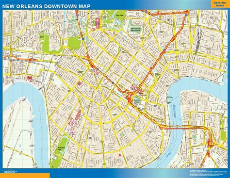 map new orleans new orleans downtown map netmaps usa wall maps shop