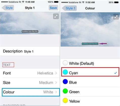 how to change font color on iphone change caption font color on iphone ios 9