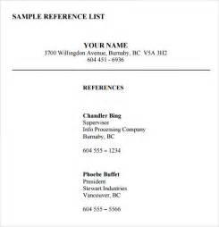 List Of Professional References Template List Of References Template Cyberuse