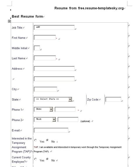 Pdf Resume Templates by Blank Resume Template Pdf Http Jobresumesle