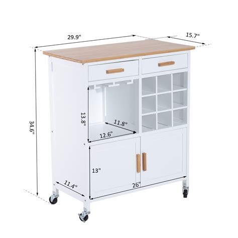 aosom homcom kitchen island modern rolling storage cart on wheels with wood top white homcom portable kitchen trolley with bamboo top storage