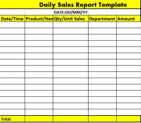 daily sales report template free report templates