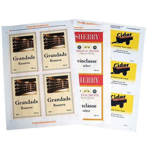 printable wine label paper a4 dry gummed label paper pack of 8 sheets for wine and