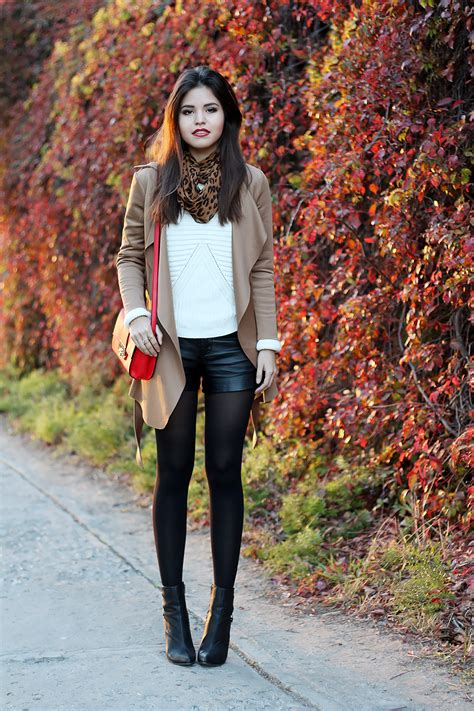 Khaki Leopard Casual Top 26839 how to wear shorts in the cold fall days fashionsy