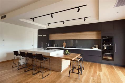 Superior Kitchen Designs With Stainless Steel Appliances #4: American-kitchen-design-and-bar-kitchen-modern-with-white-contemporary-bar-stool-track-lighting.jpg