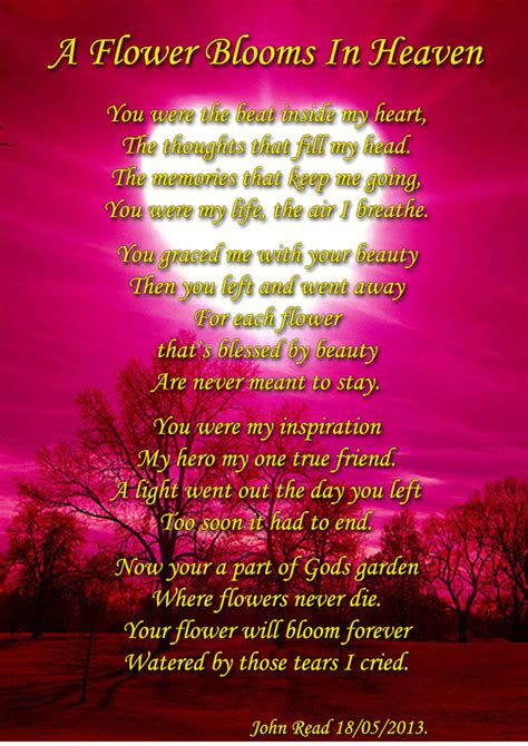 heaven poem a flower blooms in heaven sad poetry