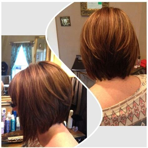 chocolate hair color with highlights for angled bobs angled bob short hair blonde highlights and lowlights my