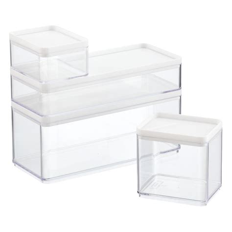 clear stackable storage containers stackable rectangle clear containers with white lids the