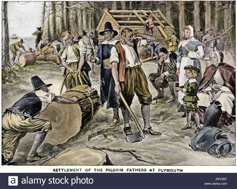 buy a house in plymouth pilgrims cutting forests and building houses at plymouth colony stock photo royalty