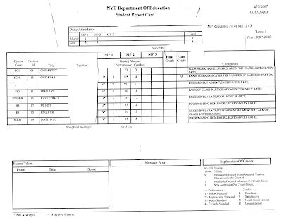 Report Card Template Nyc