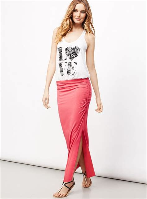 s secret ruched maxi skirt in pink pucker up