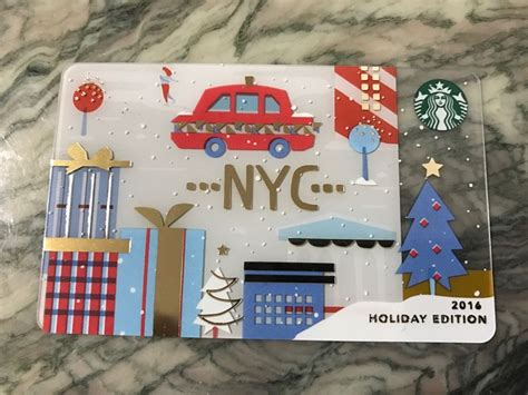 Nyc Gift Card - rare 2016 starbucks nyc new york city holiday edition gift card red taxi ebay
