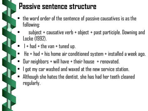 passive voice sentence pattern causative verbs презентация онлайн